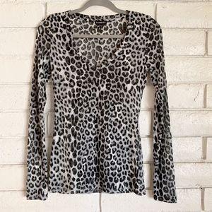 Express Leopard print semi-sheer long sleeve top.